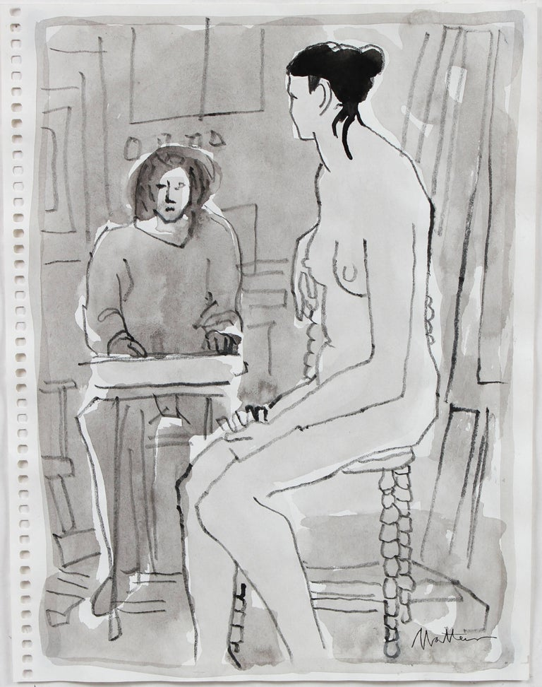 Grayscale Female Figure in Drawing Class, Ink Wash on Paper, 20th Century