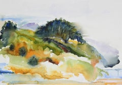 Abstracted Coastal Landscape in Watercolor, Late 20th Century