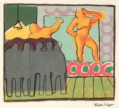 Performer Onstage, Silkscreen on Paper, Mid 20th Century