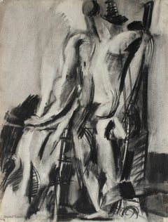 Monochromatic Abstracted Figure in Charcoal, Circa 1950