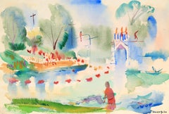 Abstracted Landscape in Watercolor, Mid 20th Century