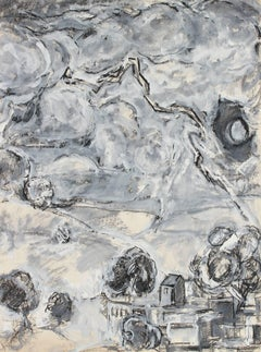 Abstracted Monochromatic Landscape, Charcoal and Gouache on Paper, 1971