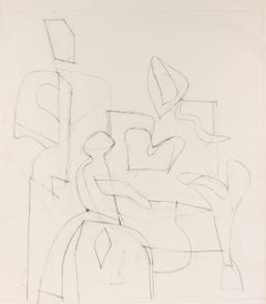 Three Abstracted Figures, Modernist Graphite Drawing, 20th Century