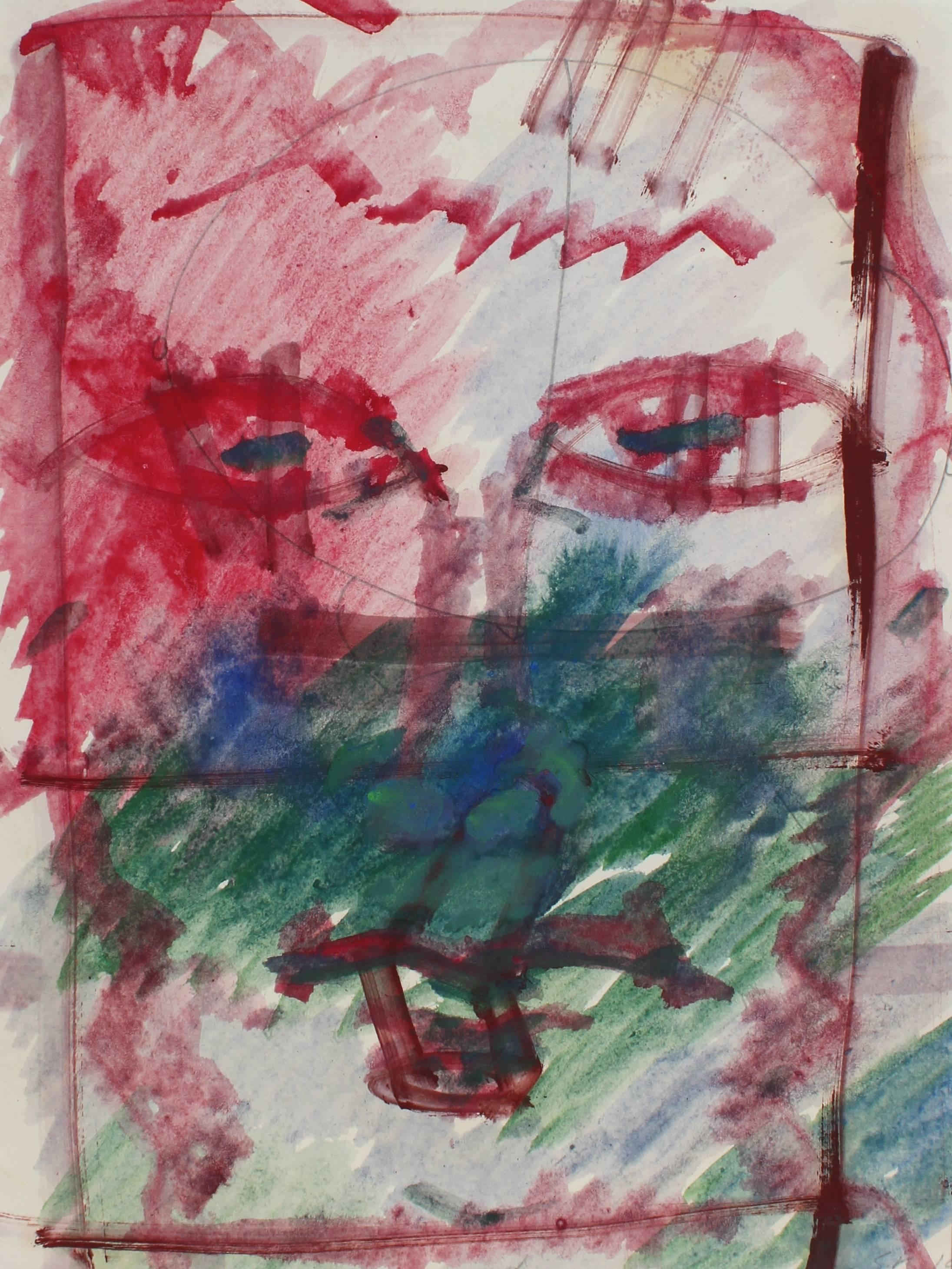Colorful Modernist Abstracted Portrait in Oil with Red and Green, Circa 1960s