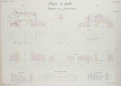 Detailed French Engineering Drawing in Ink & Gouache, 1920