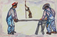 Construction Workers in Overalls, Colorful Pastel and Ink Drawing, 1960
