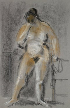 Standing Nude Figure in Pastel, 20th Century