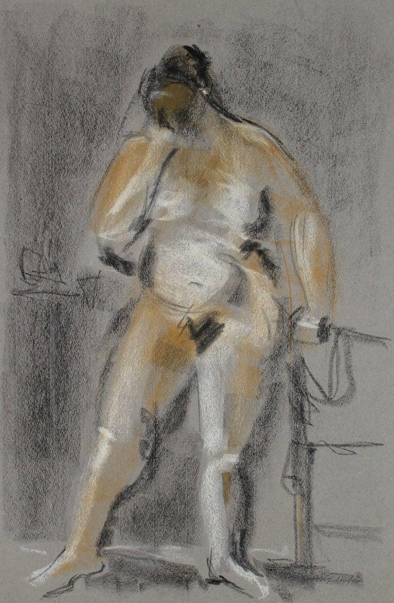 Standing Nude Figure in Pastel, 20th Century