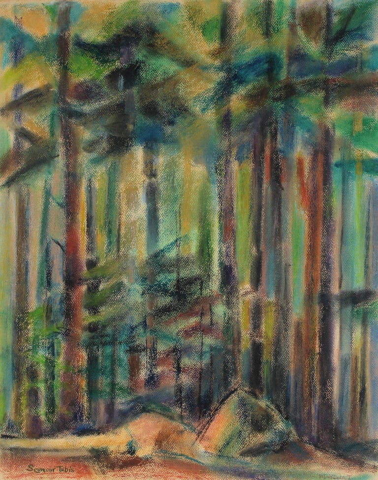 Abstracted Forest Landscape in Pastel, 1962