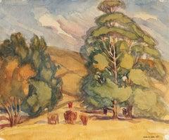 Bay Area Rural Landscape Watercolor, Mid-Century