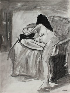 Interior with Bay Area Figure, Charcoal & Ink, 1971