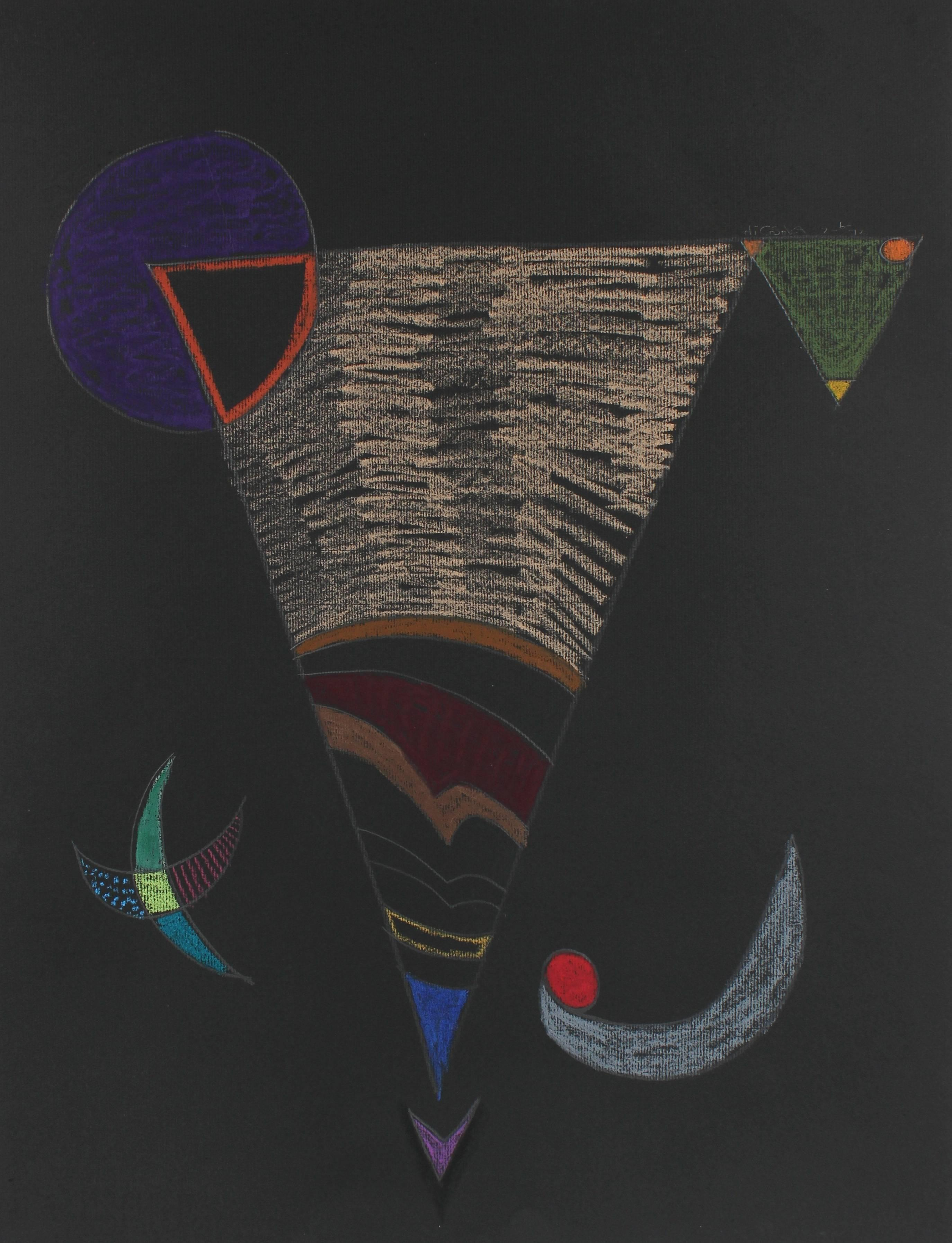 Triangle Abstract on Black in Pastel, 1972