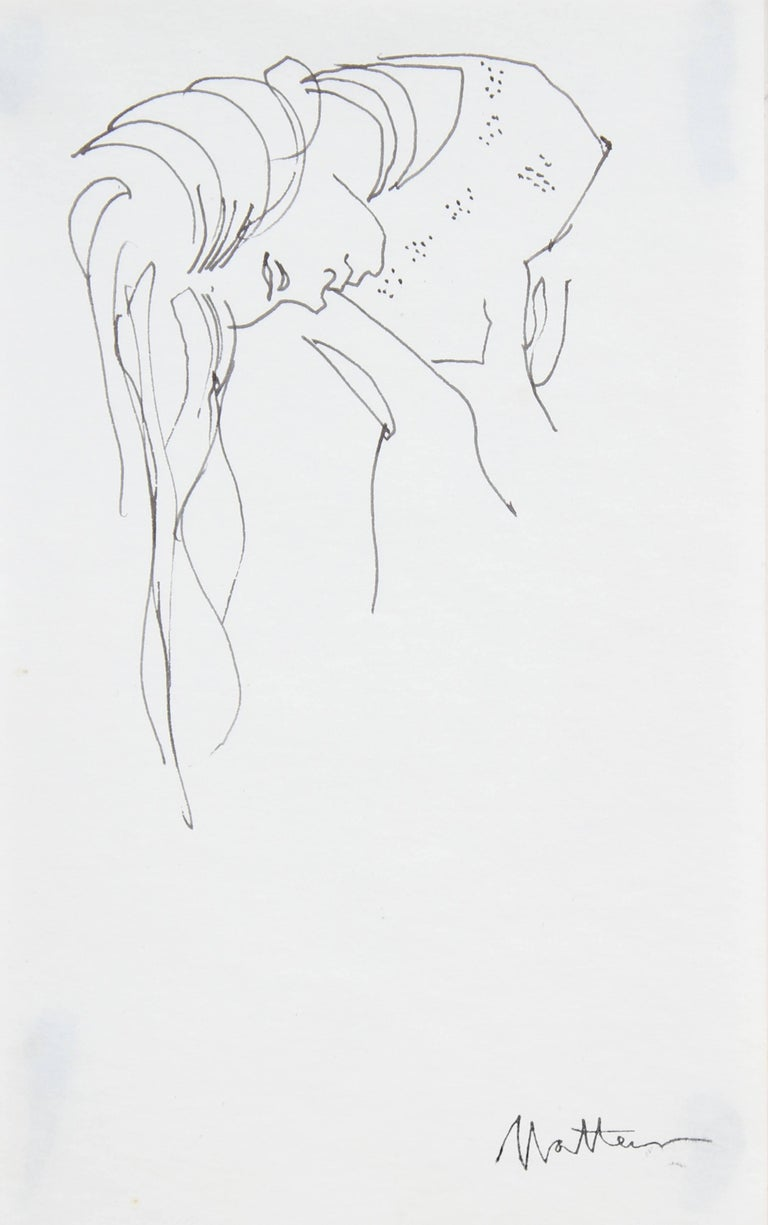 Woman with Long Hair, Ink Drawing, Late 20th Century