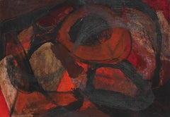 Abstract Expressionist Painting in Red and Black, Circa 1960s