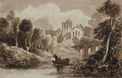 Country Landscape in Watercolor, Circa Early 1800s