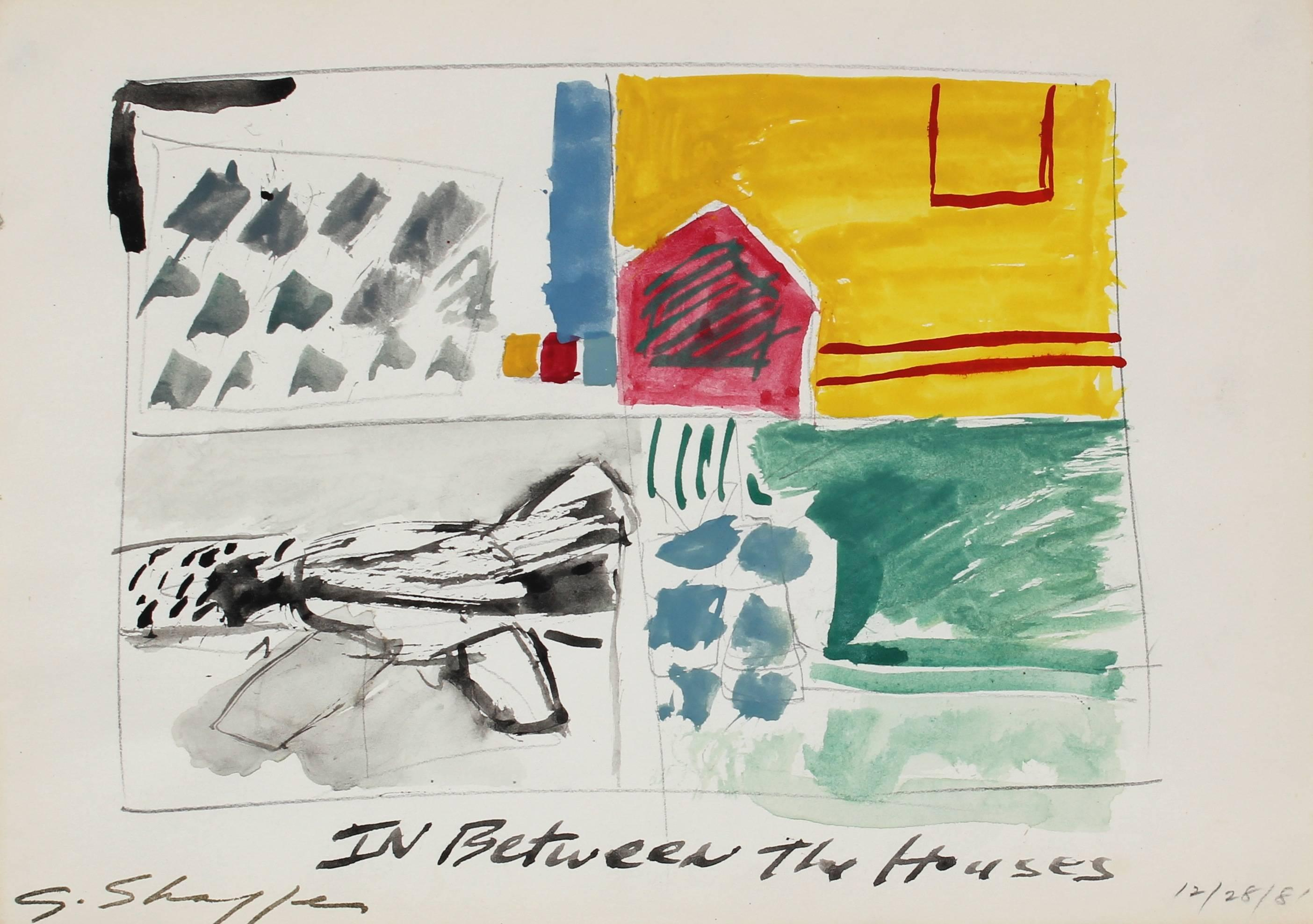 """""""In Between the Houses"""", Charcoal & Gouache Abstract, 1981"""