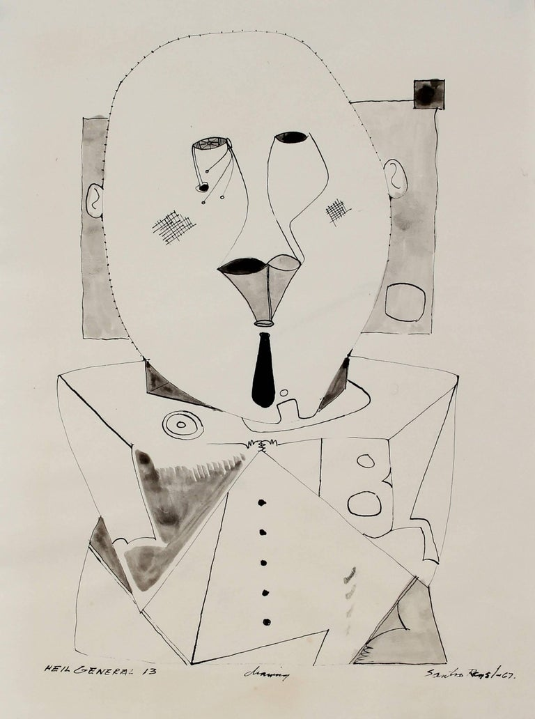 """""""Heil General 13"""" Abstracted Figure Ink Drawing, 1967"""