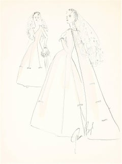 Delicate Wedding Dress Fashion Illustrations, Ink and Gouache Drawing, 1950s