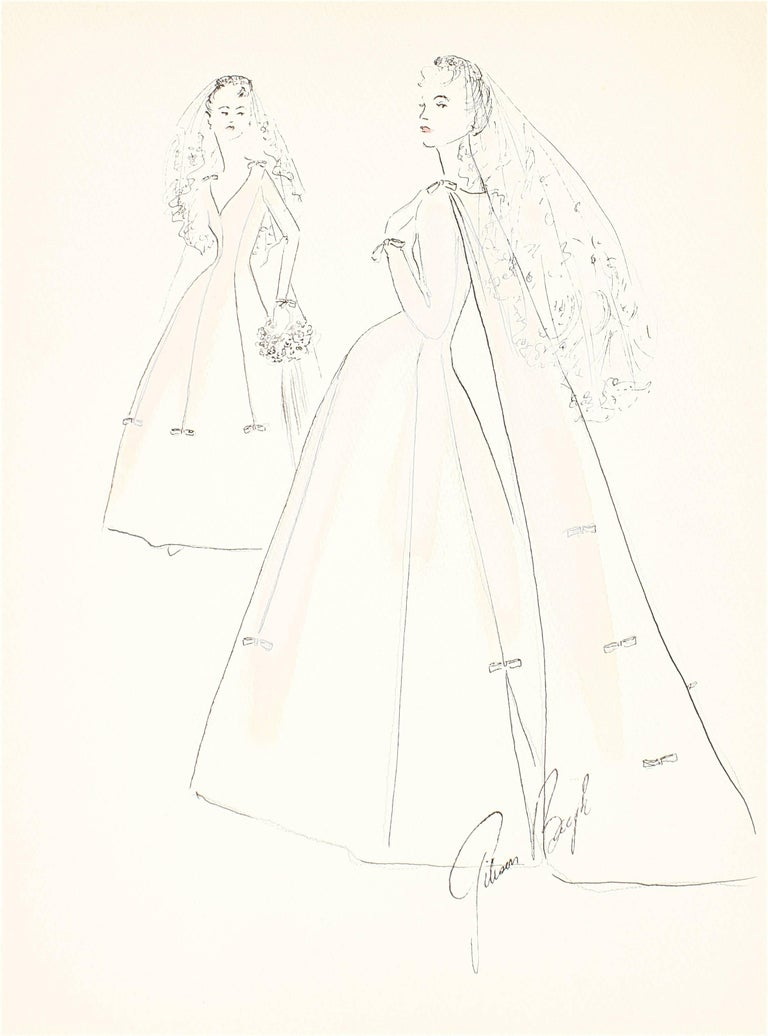 Gibson Bayh Figurative Art - Delicate Wedding Dress Fashion Illustrations, Ink and Gouache Drawing, 1950s