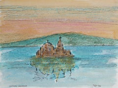 """Patras, Greece"" Pastel & Ink Landscape at Sunset with Greek Temple, 1984"
