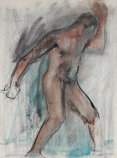 Expressionist Figure in Ink and Pastel, 20th Century