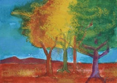 """Tree"" Fall Leaves Landscape in Acrylic with Red Yellow Green and Orange, 2007"