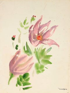 Delicate Flower Still Life in Watercolor with Pink and Purple, Mid Century