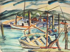 San Francisco Fisherman's Wharf, Watercolor Painting, Mid 20th Century