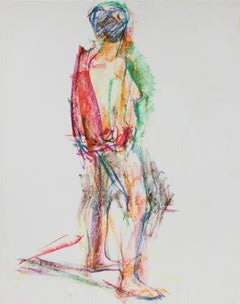 Colorful Expressionist Abstracted Figure in Wax Crayon, 1980