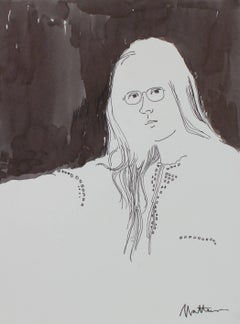 Monochromatic Portrait of a Woman with Glasses in Ink, Late 20th Century