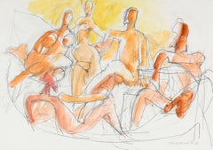 Abstracted Seated Nude Figures in Gouache in Yellow, Gold and Orange, 1998
