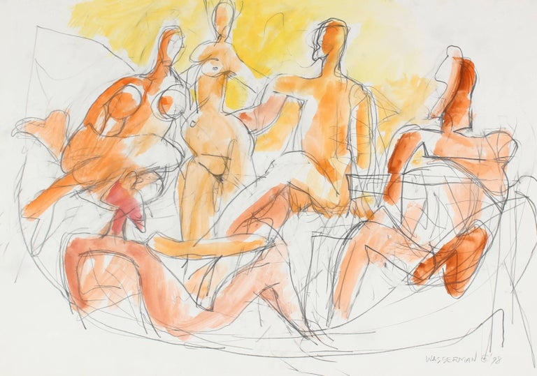 Abstracted Seated Figures in Gouache, 1998