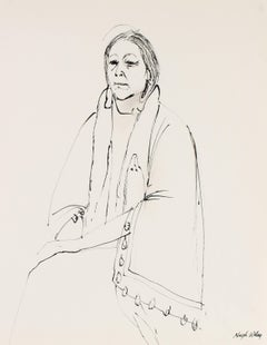 Line Drawing Portrait of a Native American Woman in Ink, Monochromatic, 1974
