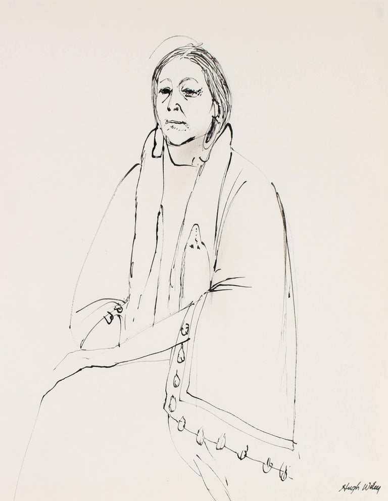 Portrait of a Native American Woman in Ink, 1974