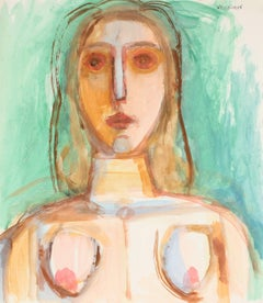 Modernist Female Portrait in Gouache, 20th Century