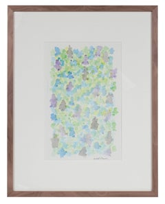 Minimal Abstract in Green & Blue, Watercolor Painting, 1963