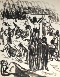 Mid Century Expressionist Figures in Ink