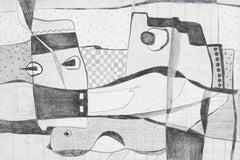 Monochromatic Surrealist Abstract in Graphite, Circa 1970s