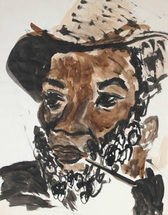 """Ojeda the Traveler"" Man with Pipe, Ink & Watercolor Portrait, 1986"