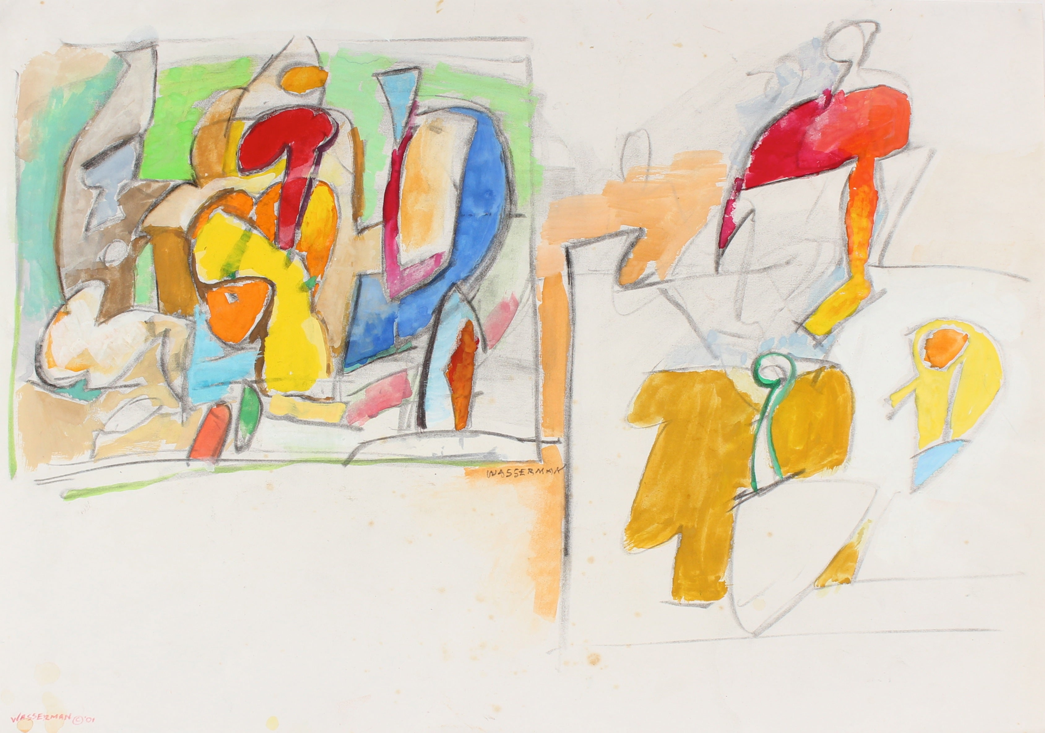 Bright Abstracted Figures in Gouache and Graphite, 20th Century