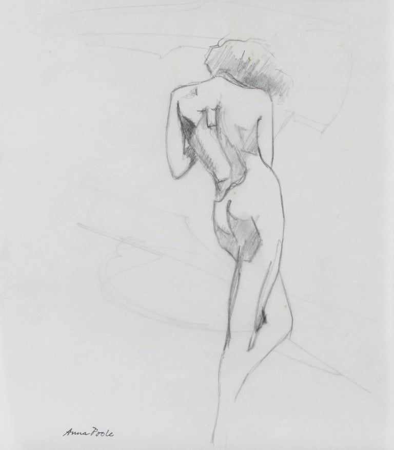 Standing Female Figure Drawing in Graphite, Late 20th Century