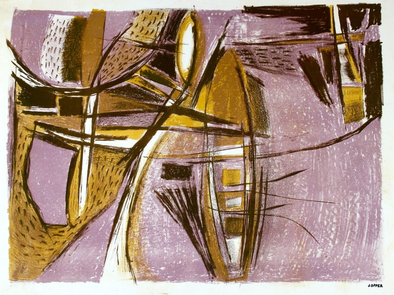 Modernist Abstract Lithograph in Lavender, Circa 1950s