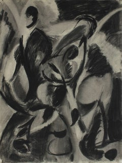 Monochromatic Abstract Figures in Charcoal, 1950