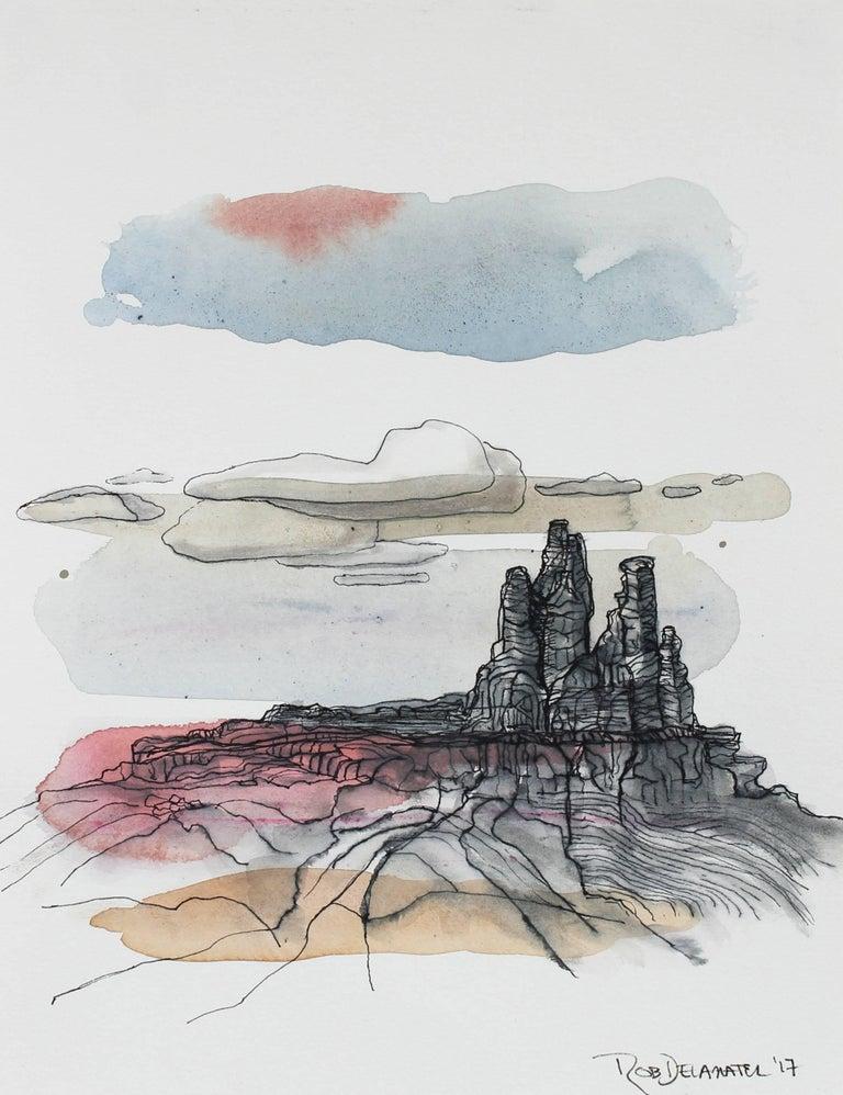 """""""Chimney Rock, Ghost Ranch"""" Desert Landscape in Gouache, 2017"""