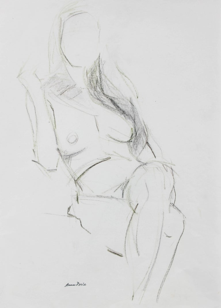Seated Female Figure, Pencil on Paper, Late 20th Century