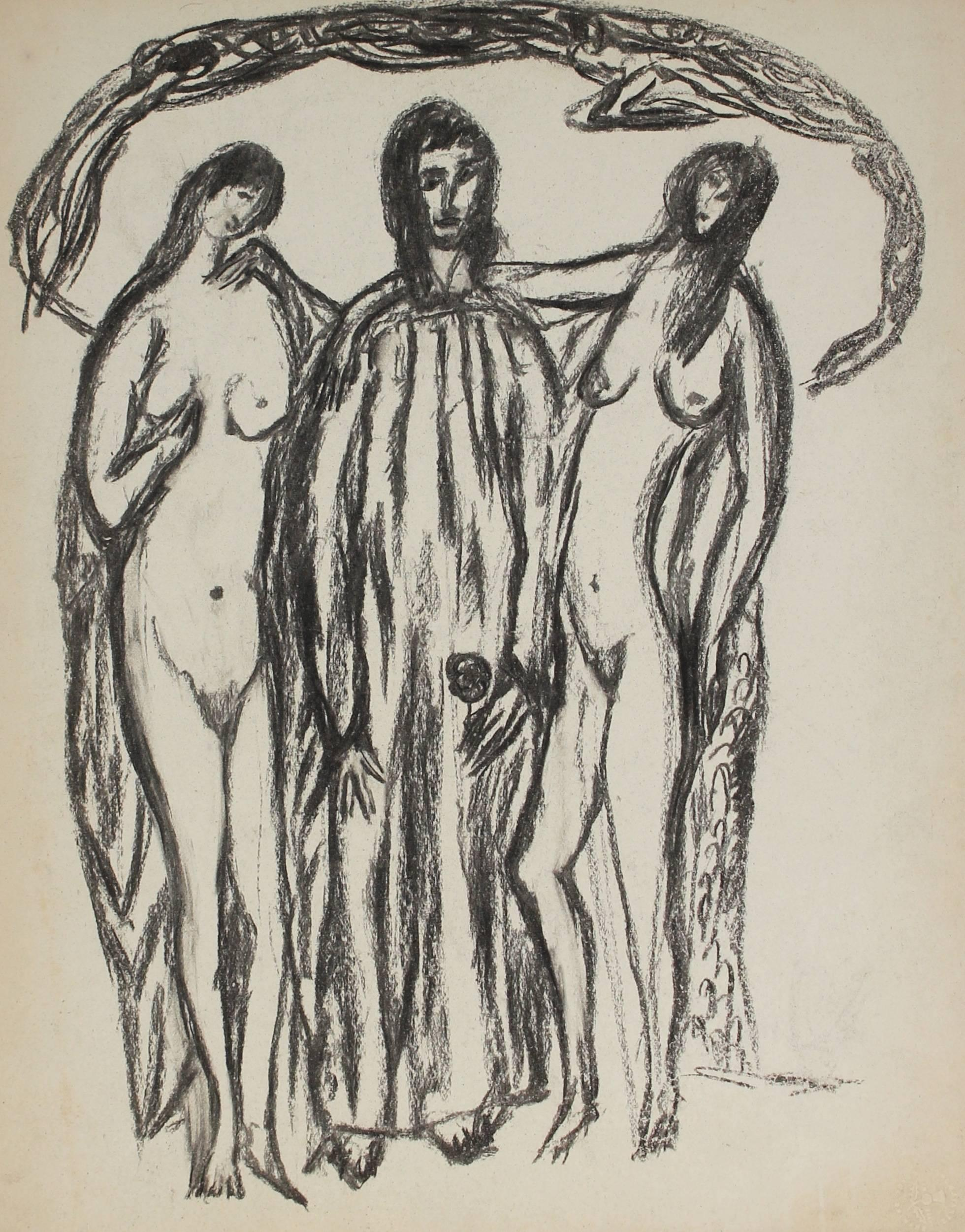 Three Expressionist Figures in Charcoal, Early 20th Century