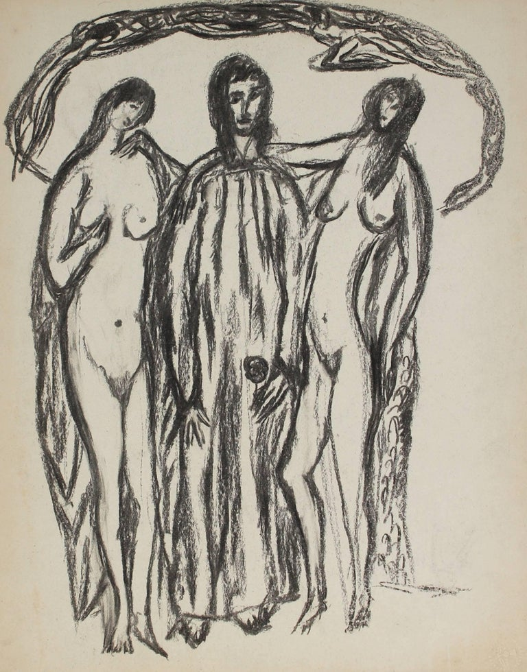 Jennings Tofel Three Expressionist Figures In Charcoal Early 20th