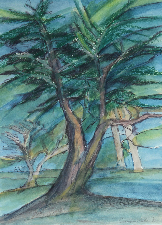 """Cypresses"" Oil Pastel Landscape, 1982"