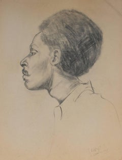 """Lacy"" Portrait in Profile, Charcoal Drawing, 1967"