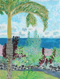 """Tropical Garden"" Hawaiian Landscape with Palm Tree in Gouache, 2016"